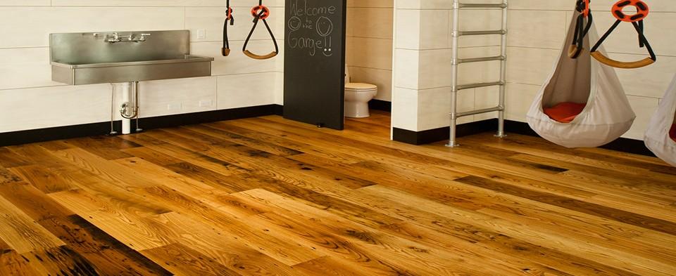 Pioneer millworks reclaimed wood for American garage floor